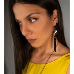 Jt Ασημένια μακριά σκουλαρίκια Swarovski γκρι με κρύσταλλα