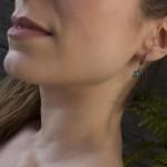 VFJ Ασημένια σκουλαρίκια κρεμαστά αστέρια τιρκουάζ ζιργκόν