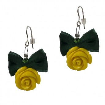 Jt Yellow silver rose earrings with green velvet bow