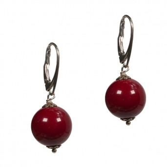 Jt Silver hang earrings red coral