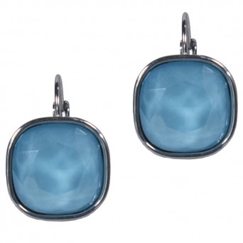 Jt Stainless steel lightblue blue crystal leverback earrings