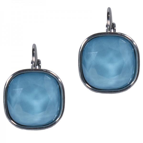 Jt Rose gold stainless steel lightblue blue crystal leverback earrings
