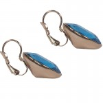 Jt Rose gold stainless steel blue crystal leverback earrings