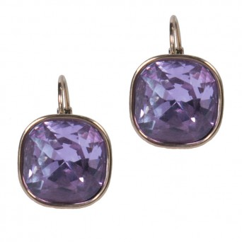 Jt Rose gold stainless steel purple crystal leverback earrings