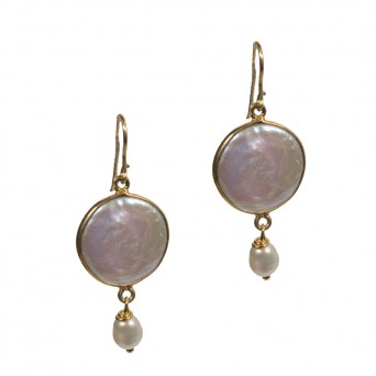 Jt Gold plated silver drop pearl earrings