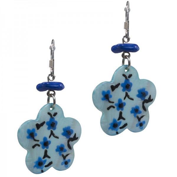 Jt Silver Blue Flower Drop Earrings