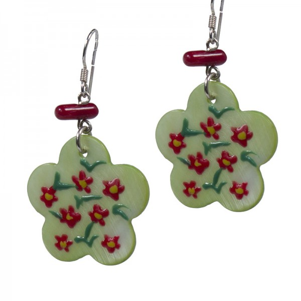 Jt Silver Green Flower Drop Earrings