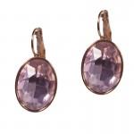 Jt Ατσάλινα σκουλαρίκια κρεμαστά ροζ χρυσό με ροζ κρύσταλλο