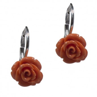 Jt Ασημένια κρεμαστά σκουλαρίκια τριαντάφυλλα κοράλλι