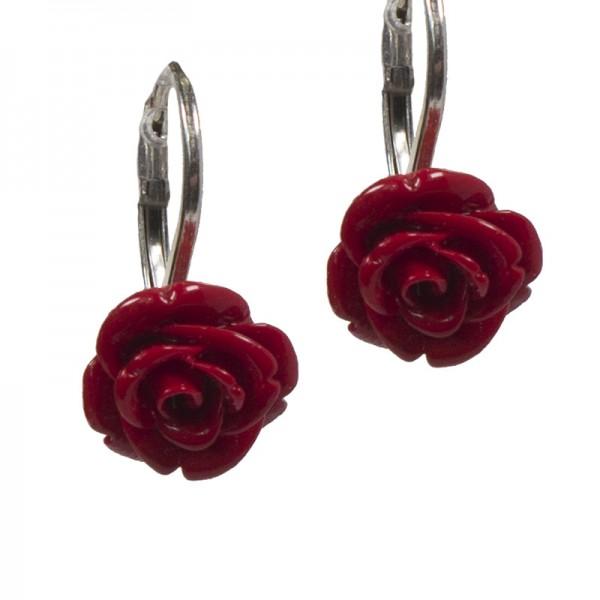 Jt Silver Red Rose Flower Leverback Earrings
