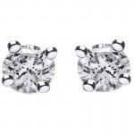 Jt Silver White Zirconia Solitaire Stud Earrings 5mm