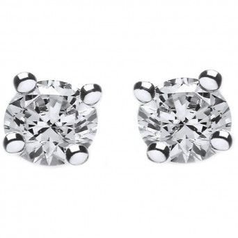 Jt Silver White Zirconia Solitaire Stud Earrings 5mm