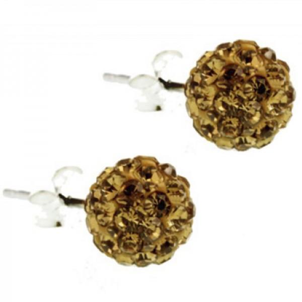 Jt Silver Golden Swarovski Crystal Ball Stud Earrings