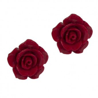 Jt Large Silver Red Coral Rose Flower Stud Earrings