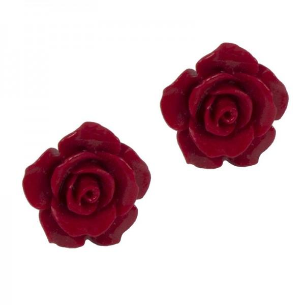 Jt Μεγάλα ασημένια σκουλαρίκια τριαντάφυλλα κόκκινα κοράλλι