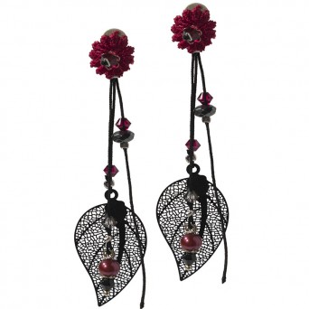 Jt Silver leaf earrings with Swarowski and pearls