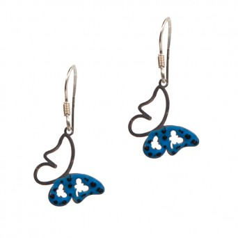 Jt Silver and steel drop blue butterfly earrings