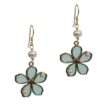Jt Gold Plated Silver Petrol Flower Drop Earrings