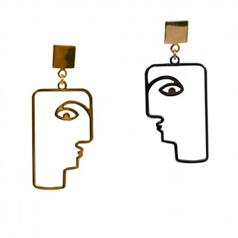 Jt Unique artistic silver earrings human profile