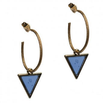 Jt Gold plated silver hoop earrings with blue triangle