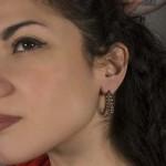Jt Steel hoop earrings with small steel balls