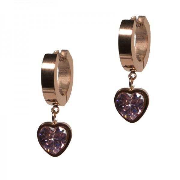 Jt Ατσάλινα σκουλαρίκια κρίκοι μικροί καρδιά ροζ κρύσταλλο