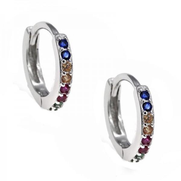 Jt Ασημένια σκουλαρίκιακρίκοι μικροί πολύχρωμα ζιργκόν