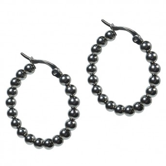 Jt Steel hoop earrings with small steel balls
