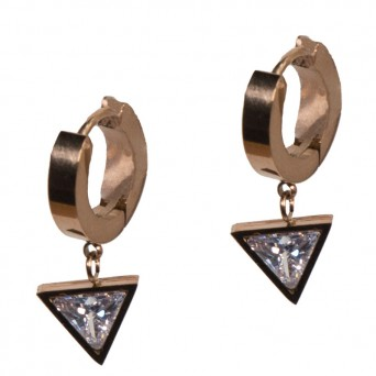 Jt  Small stainless steel hoop triangle earrings white crystlal