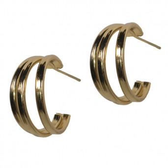 Jt Golden stainless steel triple hoop earrings