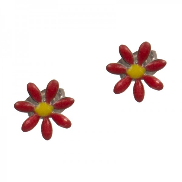 Jt Stainless steel stud red flower earrings