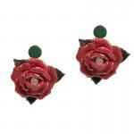 Jt Silver Stud Porcelain Pink Flower Earrings