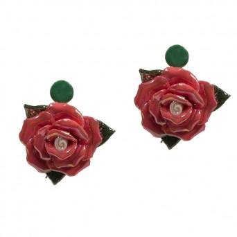 Jt Ασημένια καρφωτά σκουλαρίκια πορσελάνινα ροζ λουλούδια