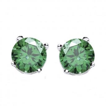 Jt Silver Emerald Zirconia Solitaire Stud Earrings 3mm