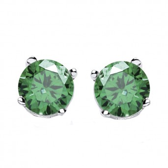 Jt Silver Emerald Zirconia Solitaire Stud Earrings 5mm