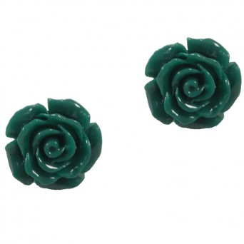 Jt Silver Cypress Green Flowers Stud Earrings