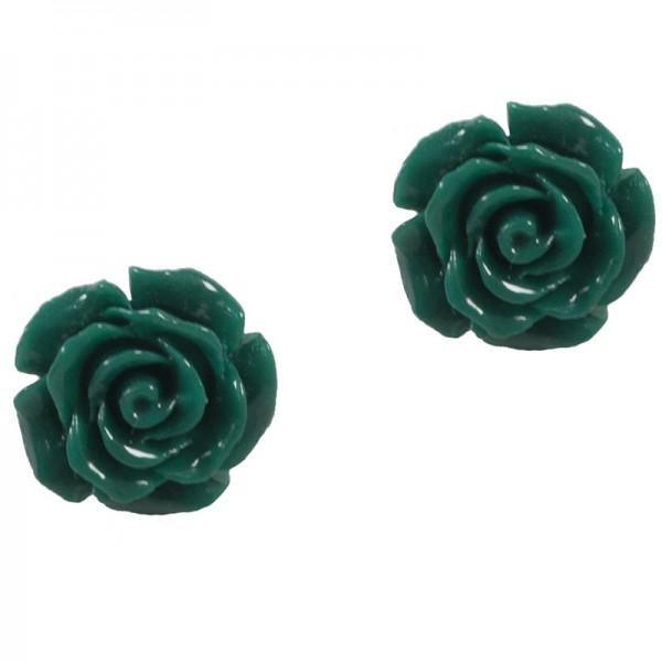 Jt Silver Cypress Green Flowers Stud Earrings
