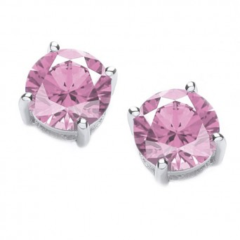 Jt Silver Pink Zirconia Solitaire Stud Earrings 3mm