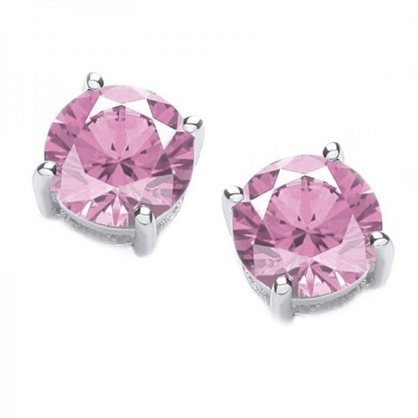 Jt Silver Pink Zirconia Solitaire Stud Earrings 3mm