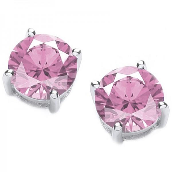 Jt Silver Pink Zirconia Solitaire Stud Earrings 5mm