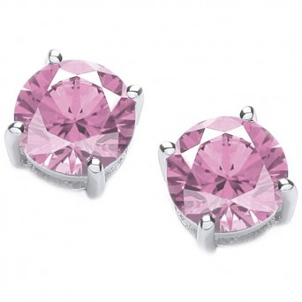 Jt Silver Pink Zirconia Solitaire Stud Earrings 4mm