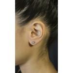 Jt Ασημένια μονόπετρα σκουλαρίκια γαλάζιο ζιργκόν 4mm