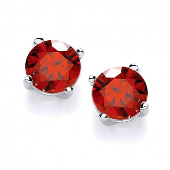 Jt Silver Red Zirconia Solitaire Stud Earrings 5mm