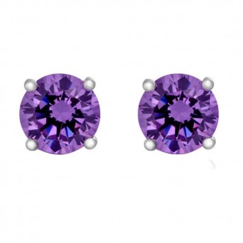 Jt Silver Purple Zirconia Solitaire Stud small Earrings 3mm