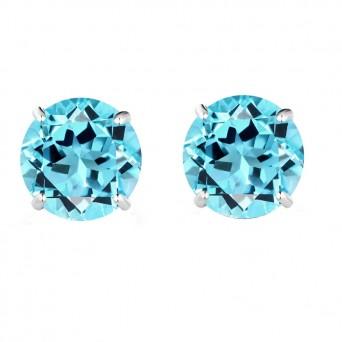 Jt Silver Blue Zirconia Solitaire Stud Earrings 5mm