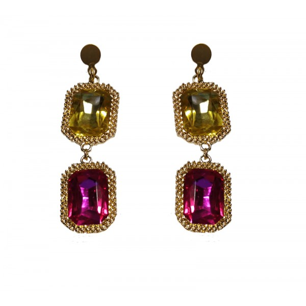 Jt Gold plated silver crystals chandelier earrings