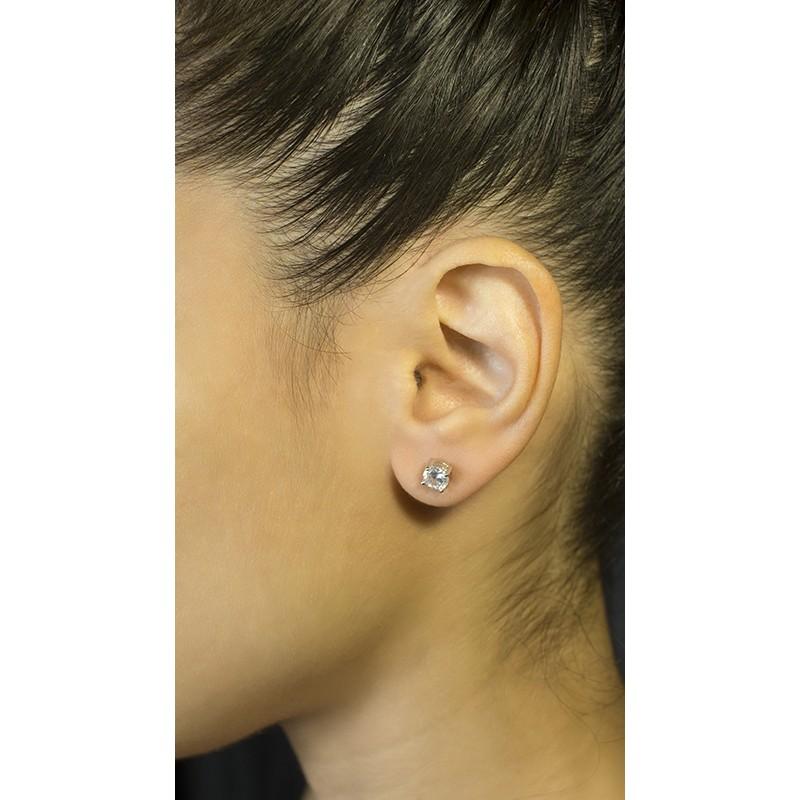 Jt Ασημένια μονόπετρα σκουλαρίκια λευκά ζιργκόν 5mm d92d0d0e679