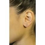 Jt Ασημένια μικρά μονόπετρα σκουλαρίκια λευκό ζιργκόν 3mm