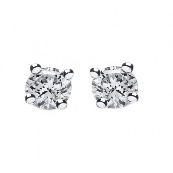 Jt Silver White Zirconia Solitaire Stud Earrings 4mm