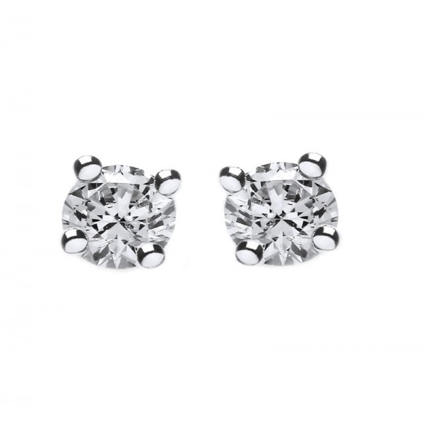 Jt Silver White Zirconia Solitaire Stud Earrings